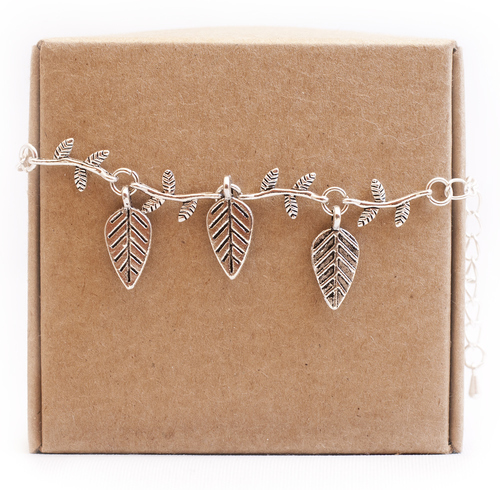 Silver leafs bracelet